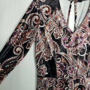 BeBop Pants - Be Bop Black Rust Paisley Print Velvet Romper